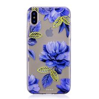 Durchscheinende blaue Blume iPhone X XS TPU Hülle - Blau