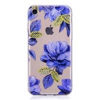 Durchscheinende blaue Blume iPhone 7 8 SE 2020 TPU Hülle - Blau