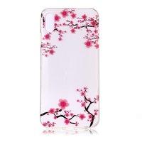 Klare iPhone X XS TPU Blütenhülle - Rosa Blumen