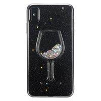 Transparente Glitter Weinglas Hülle iPhone XS Max - Glitter