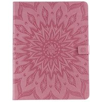 Leder iPad Pro 12,9-Zoll-2018 Fall Abdeckung Sonnenblumendruck Brieftasche Brieftasche - Pink