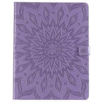 Leder iPad Pro 12,9-Zoll-2018 Fall Abdeckung Sonnenblumendruck Brieftasche Brieftasche - Lila