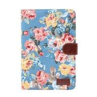 Blumen Rosen bunte Leder Flip Cover Standard iPad Mini 4 5 - Hellblau