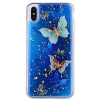Glitzer Fall Schmetterlinge TPU Gold iPhone XS Max - Blau