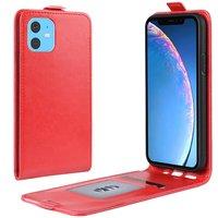 Vertical Flip Brieftasche aus Kunstleder für iPhone 11 - Rot