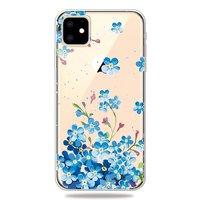 Niedliche flexible blaue Blumen Hülle iPhone 11 TPU Hülle - Klar
