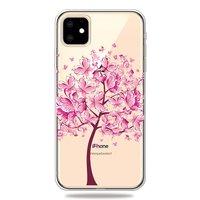 Warme flexible Schmetterlingsbaum Schmetterlinge Baum rosa Hülle iPhone 11 TPU Hülle - Transparent