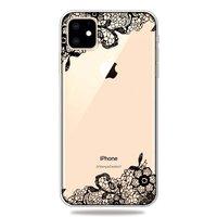 Schwarz Weiß Blumen Gezeichnet Umrissen Kreative Hülle iPhone 11 TPU Hülle - Klar