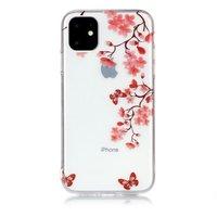 Blumen blühen Schmetterlinge rote Natur Fall TPU iPhone 11 - transparent