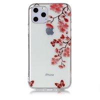Blumenblüte Schmetterlinge Rote Natur Fall Fall TPU iPhone 11 Pro - Transparent