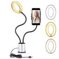 Selfie Licht Smartphone Halter dimmbar 3 Farben Licht - Silber Schwarz
