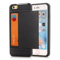 Geheime Kartenhalter Hülle iPhone 7 8 SE 2020 Hartschale - Brieftasche - Brieftasche - Schwarz