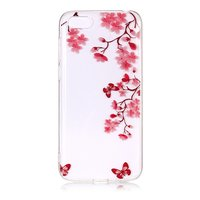 iPhone 7 8 SE 2020 TPU Hülle Blossom - Transparent Pink Red