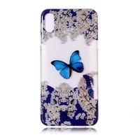 iPhone X XS TPU Hülle Transparent - Blau Weiß
