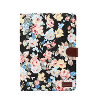 iPad Pro 11 Zoll 2018 Cover Hardcase Blumenstoff Bunt - Schwarz