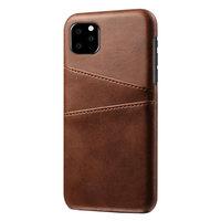 Leder Geldbörse Geldbörse iPhone 11 Pro Max Hülle - Brauner Schutz