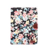 Brieftasche Cover Case Flowerprint Blumenmuster Muster Kunstleder für iPad 10,2 Zoll - Schwarz