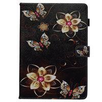 Cover Case Brieftasche Brieftasche Blumen Schmetterlinge Kunstleder für iPad 10,2 Zoll - Schwarz