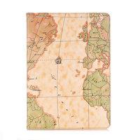 Cover Case Wallet Wallet Kunstleder Weltkartenmuster für iPad 10,2 Zoll - Hellbraun