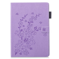 Brieftasche Brieftasche Hülle Fall Kunstleder Naturblüte Pflaumenblüte für iPad 10.2 - Lila