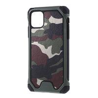 Camouflage Army Hybrid Leder TPU Polycarbonat iPhone 11 Hülle - Grün