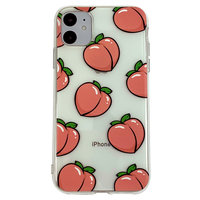 Peaches iPhone 11 TPU Hülle - Transparent Pink Flexibel