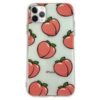 Pfirsiche iPhone 11 Pro Max TPU Hülle - Transparent Pink Flexibel
