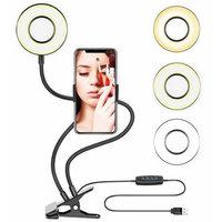 2-in-1-Telefonhalter mit Selfie-Ring - Make-up-Fotografie streamen