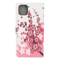 Brieftasche Kunstleder Blumenetui für iPhone 12 und iPhone 12 Pro - weiß