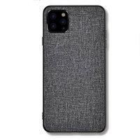 Stoff Textur und Kunststoff Hülle für iPhone 12 Pro Max - grau