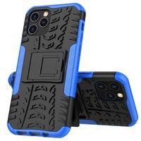 Stoßfeste stoßdämpfende TPU-Hülle für iPhone 12 und iPhone 12 Pro - schwarz mit blau