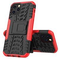 Stoßfeste Kunststoff- und stoßdämpfende TPU-Hülle für iPhone 12 und iPhone 12 Pro - schwarz mit rot