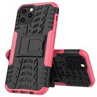Stoßfeste Kunststoff- und stoßdämpfende TPU-Hülle für iPhone 12 und iPhone 12 Pro - schwarz mit pink