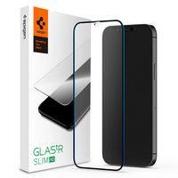 Spigen FC Schwarz HD Glasschutz iPhone 12 und 12 Pro - Schutz Black Edge