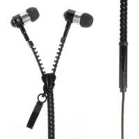 Schwarzer Reißverschluss In-Ear-Kopfhörer Ohrhörer Mikrofonknopf Reißverschluss
