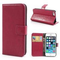Rosa Leder Bücherregal Fall Brieftasche iPhone 5 5s SE 2016 Cover von Leder Brieftasche