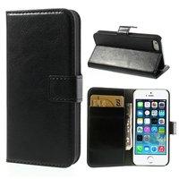 Schwarzes Leder Bücherregal Fall und Brieftasche iPhone 5 5s SE 2016 Cover Leder Brieftasche
