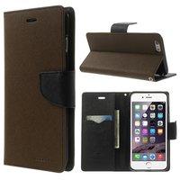 Mercury Goospery Bücherregal Abdeckung iPhone 6 Plus 6s Plus Brieftasche Hülle Braun schwarz
