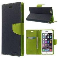 Mercury Goospery Blue Wallet Bücherregal iPhone 6 Plus 6s Plus Dunkelblaues Leder Wallet Case