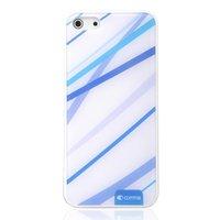 Blau-weiße Komma-Hülle für iPhone 5 / 5s und SE 2016 Hartschalenhülle mit blauen Linien