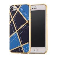Schicke Silikonhülle iPhone 7 8 SE 2020 Goldene Designlinien Blau