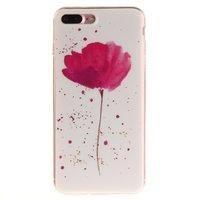 Rosa Blume mit weißer Abdeckung iPhone 7 Plus 8 Plus TPU-Abdeckung Silikonhülle