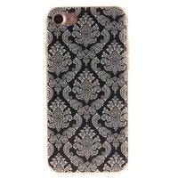 Schwarze Henna-Hülle Damastblume iPhone 7 8 SE 2020 Silikon-TPU-Hülle weiß