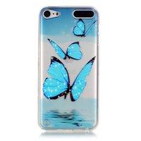 Transparente Schutzhülle für iPod Touch 5 6 7 TPU-Hülle mit blauen Schmetterlingen