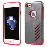 Rot grau metallic Hartschale TPU Hülle für iPhone 7 8 rot silber Hülle