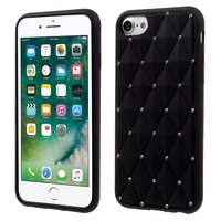 Schwarze Silikonhülle mit Diamanten iPhone 7 8 SE 2020 Glänzende Steine