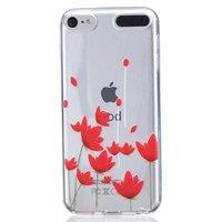 Rote Blumen Fall TPU transparente Abdeckung iPod Touch 5 6 7