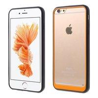 Hybrid stoßfeste Hülle iPhone 6 6s Schwarz Orange Transparent
