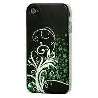Blumen grün silberne Hülle für iPhone 4 / 4s Schwarz