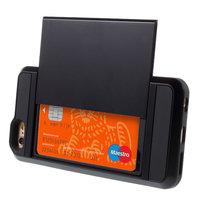Geheime Kartenhalter Hülle für iPhone 6 Plus 6s Plus Hartschale - Brieftasche - Schwarz